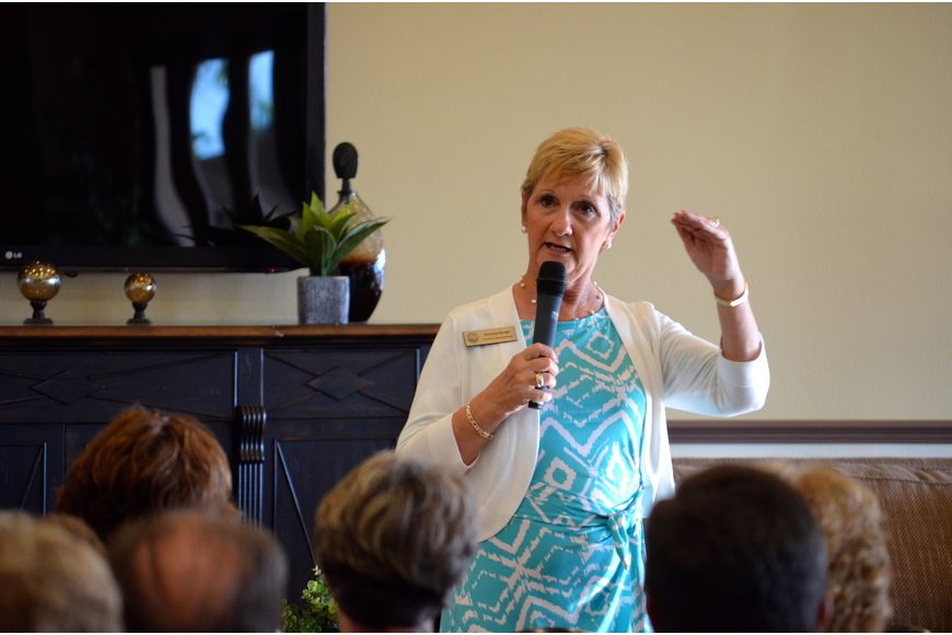 District 5 County Commissioner Vanessa Baugh discussed issues on Esplanade residents' minds at a forum May 21.