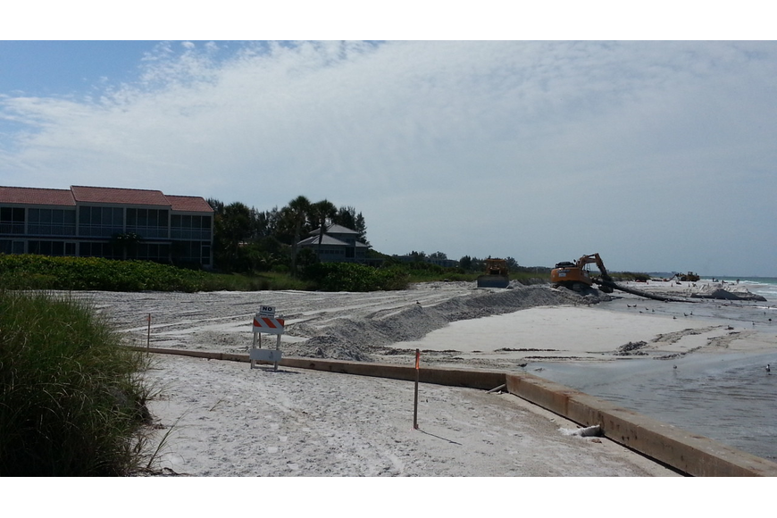 Sand is now being placed south of North Shore Road behind the Longbeach Periwinkle condominium building,