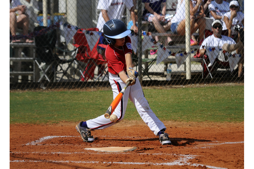 Luke Geske got a hit for the Sarasota American 9/10 team during its tournament opening victory over Sarasota National June 21.