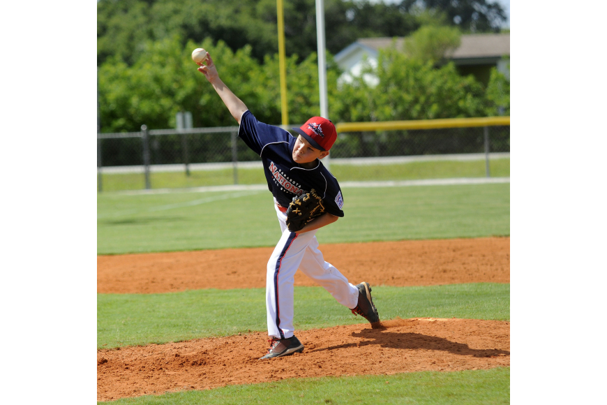 Matthew McFall pitched for the Sarasota National 10/11 All-Stars in their tournament opener June 21.