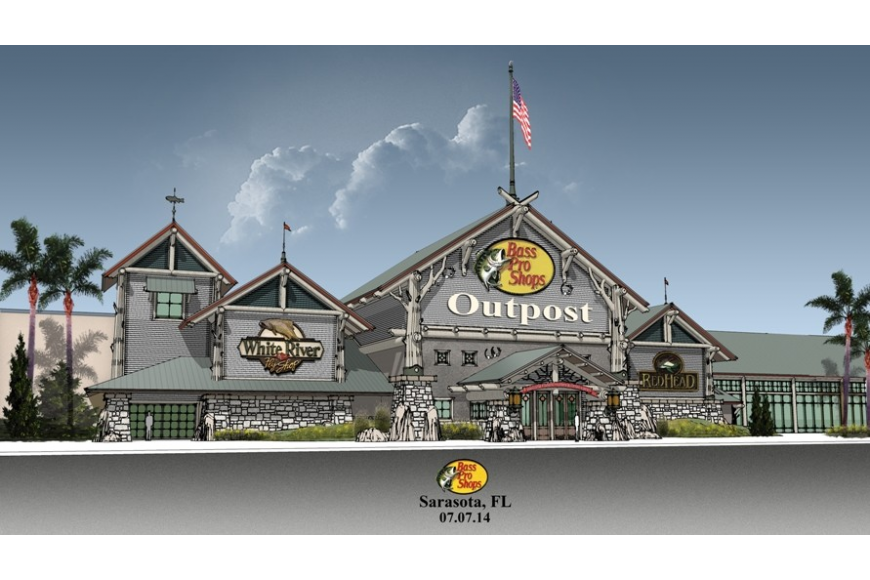 A Bass Pro Shops rendering shows plans for the outdoor retailer's 14th Florida store, which is slated to be part of the Fruitville Initiative.