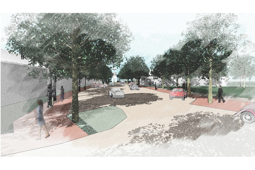 Architect Gary Hoyt was hired late last year to design preliminary town center concept renderings.