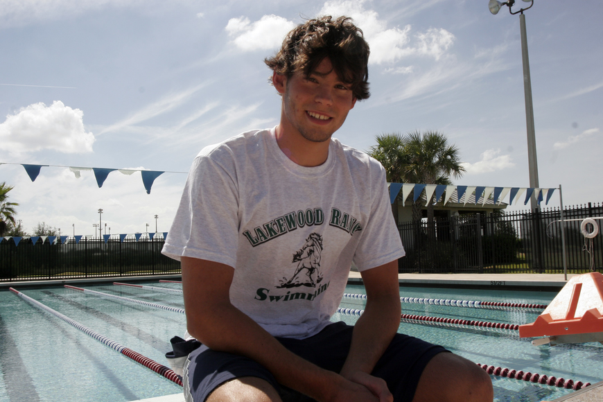 Will Kazokas set the school record in the 50-yard freestyle (21.75) Sept. 15.