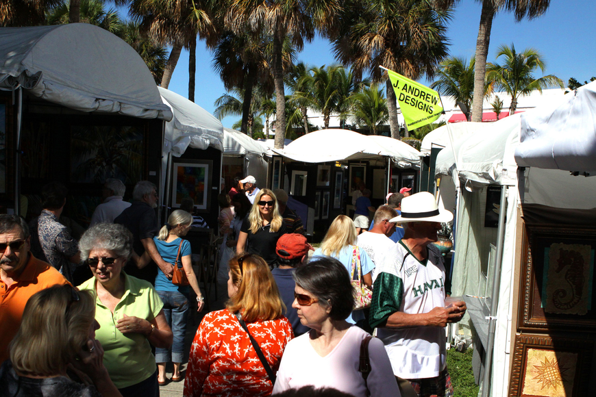 Thousands of people wander the Circle during the 21st annual St. Armands Art Festival.