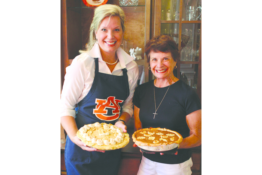 Guest Food Editor Amanda Morris and her mother, Emily Buskirk, with their beautiful Thanksgiving desserts.