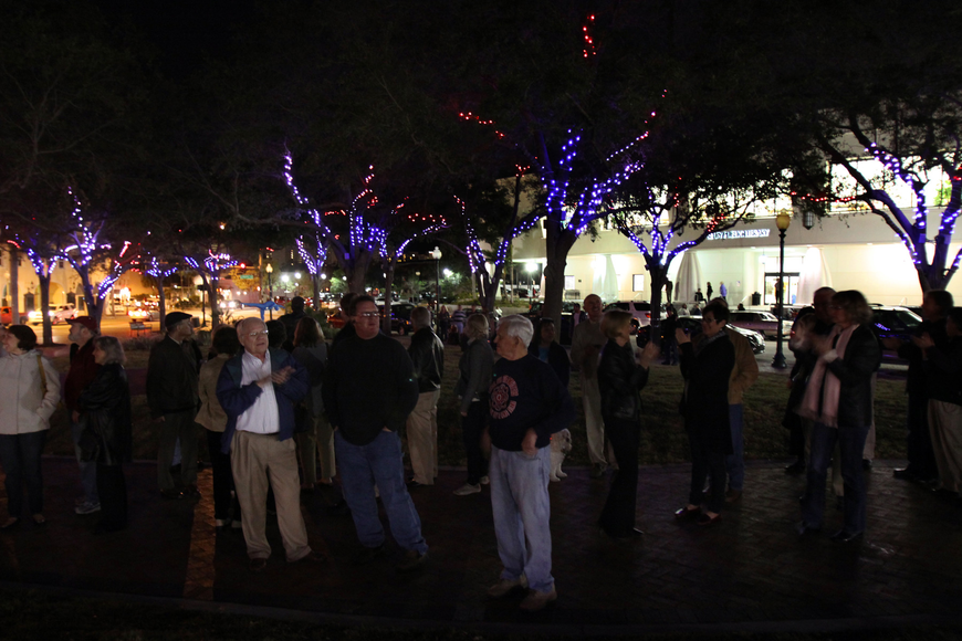 The crowd takes in the first view of the Five Points Selby Park LED tree lighting system.