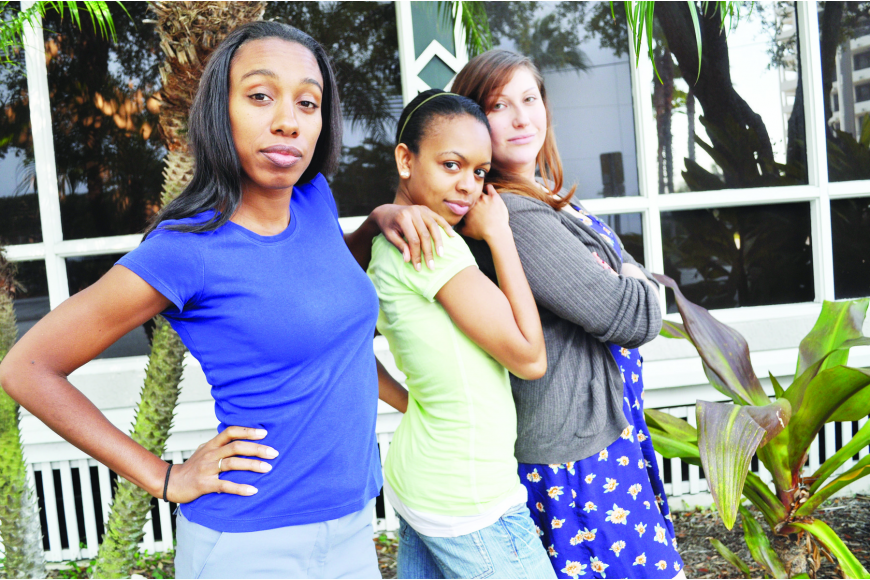 """I'm excited to be able to play me and be sassy, which is really the only way to be,"" says Sadrina Renee, center, with her fellow ""Brassy Broads"" cast members Natalie Renee, left, and Carly Sakolove."