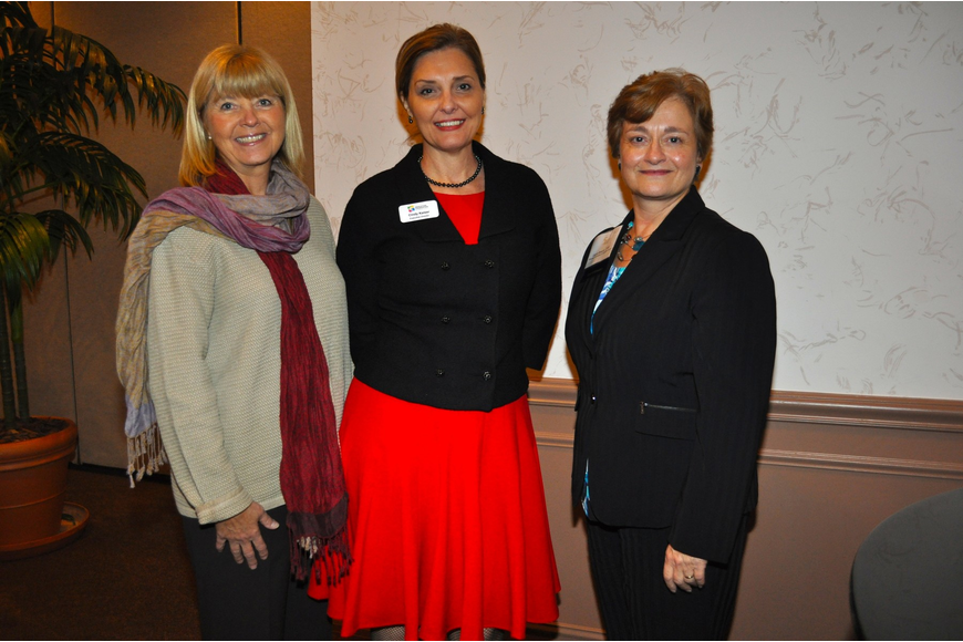 Pam Truitt, guest speaker and initiative manager for The Patterson Foundation, Cindy Kaiser and Laura Breeze, president of AFP Southwest Florida Chapter