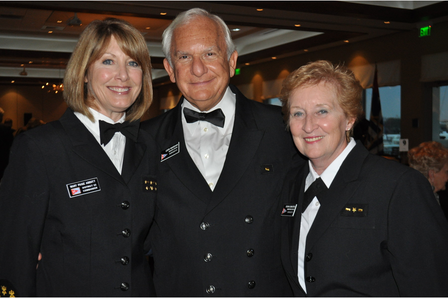 District Commodore Mary Paige Abbott; Sarasota Power Squadron Commodore Leon Warshaw; and Executive Officer, Susan Lomastro