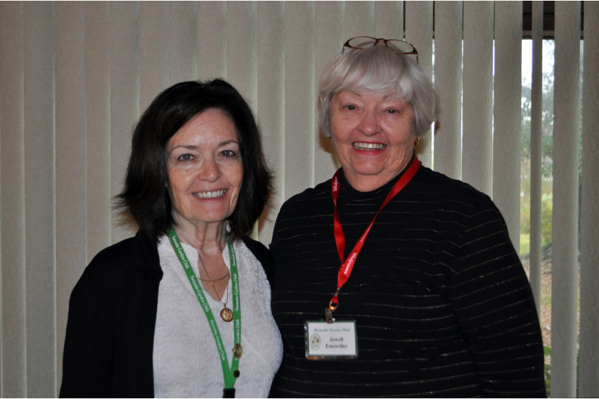 Garden Club president and vice president, Ginger Vance and Jewell Emswiller