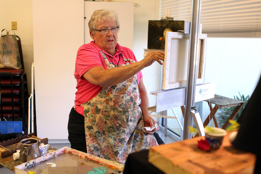 Shirley Watson concentrates on beginning her still life oil painting on Monday, Feb. 21 at Longboat Key Center for the Arts. This is Watson's fifth workshop with David Leffel and she