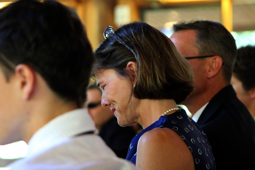 A mother gets teary Friday, June 3 during ODA's 6th grade graduation at Siesta Key Chapel.