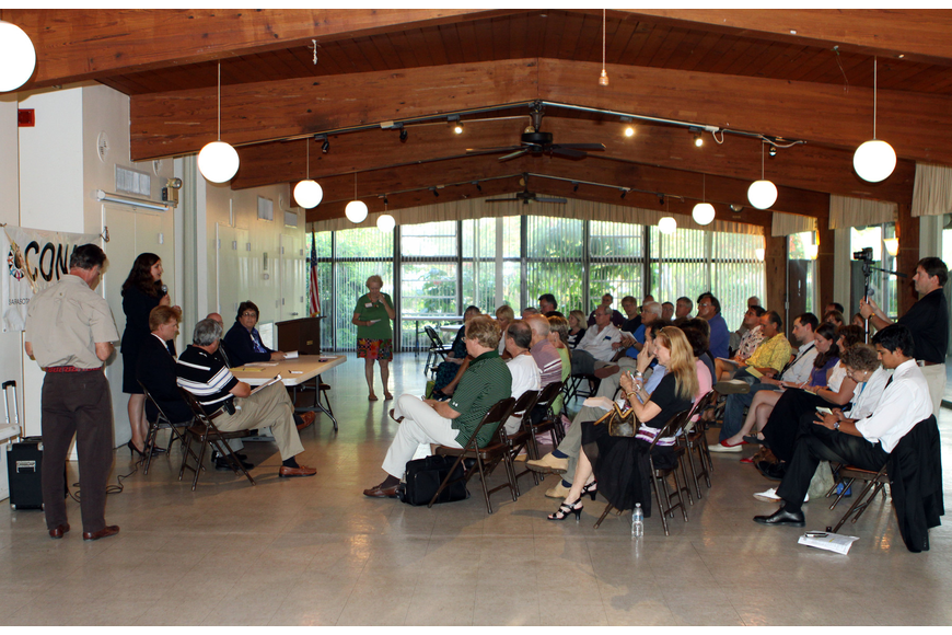 Members of the community came out to ask questions and learn more about the candidates up for election during at open forum CONA meeting at the Sarasota Garden Club, Monday, June 11.