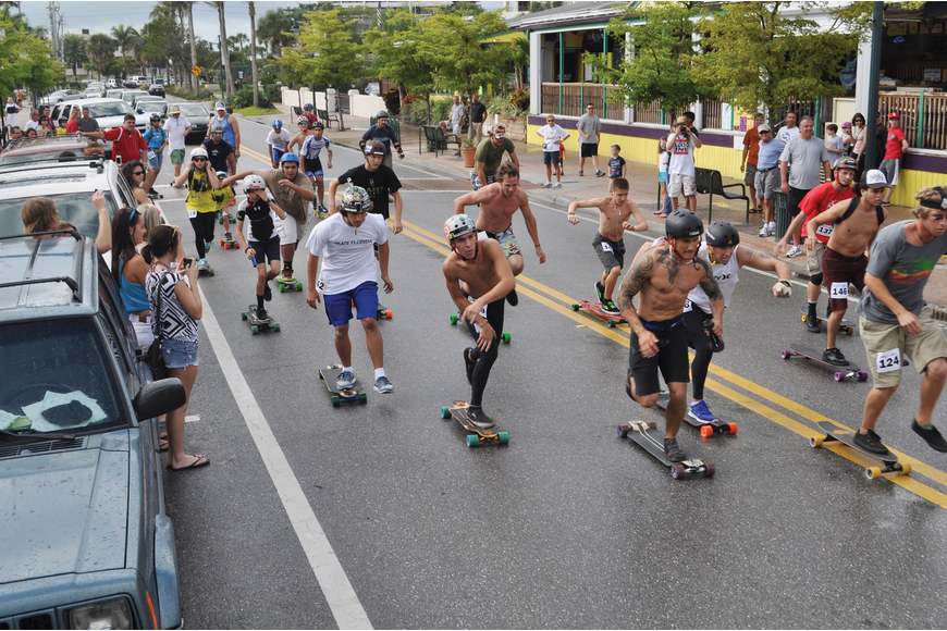 Longboard enthusiasts got their wheels spinning for CaliFlorida Surf and Skate Shop's Longboarda Cruza Palooza March 25, at Siesta Key Village.