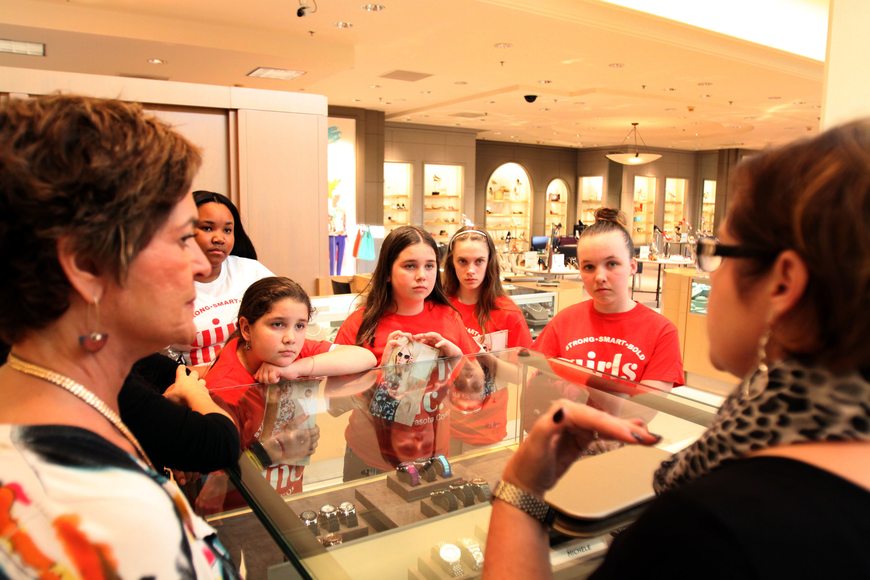 Susan Brothers talks to the girls about Michelle watches and how to present jewelry properly.