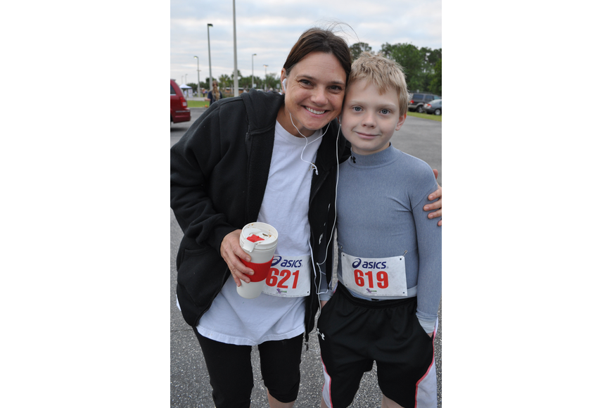 Erica Arend ran the one-mile race with her son, Owen, 10.