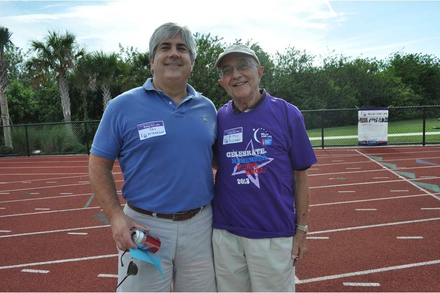 Friends Jay McHargue and Milton Richter ran the race. Richter survived prostate cancer.