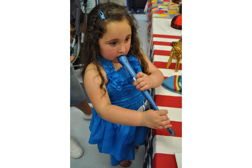 Natalia Santiago, 4, checked out items in the art room.