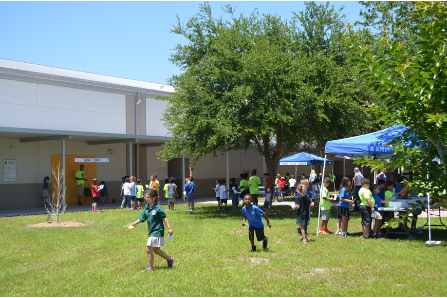 The Measurement Olympics were held in the school's courtyard.