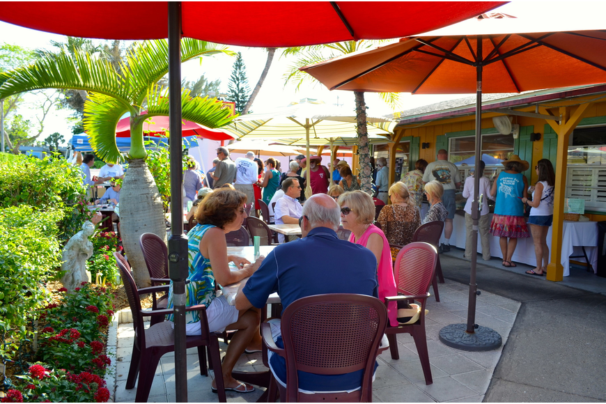 Harry's patio was packed for the wine tasting benefitting Longboat Key Turtle Watch.