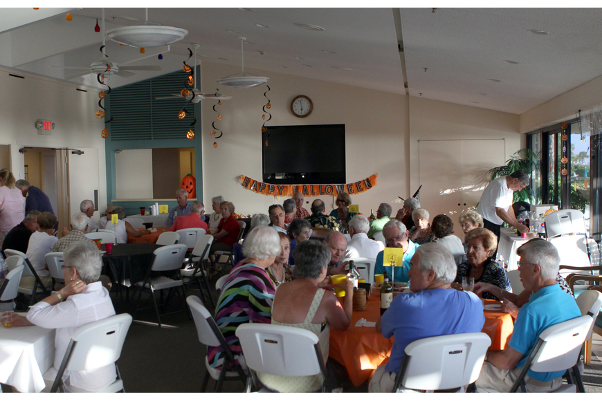 The Seaplace clubhouse decked out for Halloween for the community potluck.