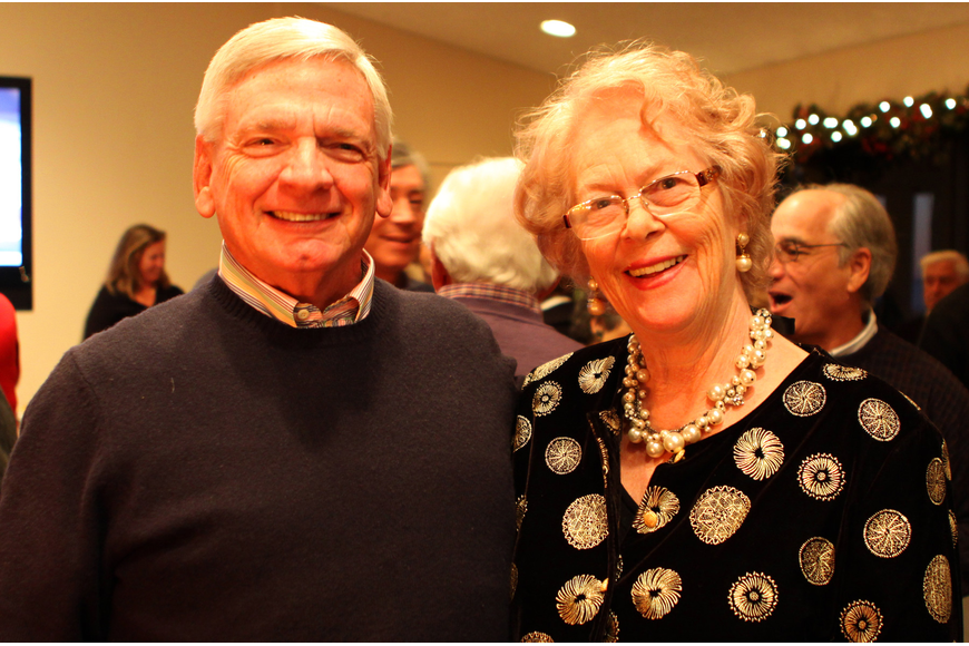 Bob Neudorfer and Gudrun Swanson catch up at the Welcome Back Holiday Party at Seaplace.
