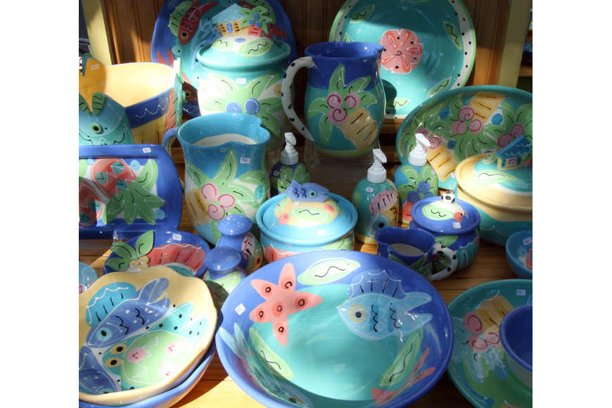 Some of Susan Painter's colorful pottery that was on display on Saturday, Jan. 29 at St. Armand's Art Fair.