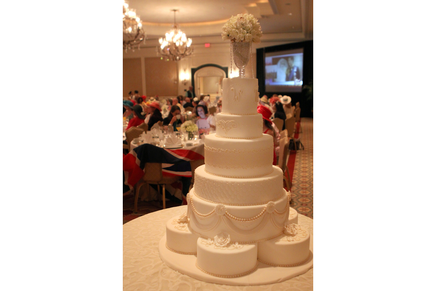The wedding cake made by pastry designer Denise Rowland and pastry artist Mae Cavazos of the Ritz Carlton.