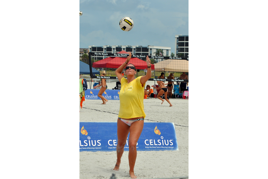Shayna Munson serves up the ball during the Siesta Key Gulf Open, Saturday, July 9 at Siesta Key Beach.