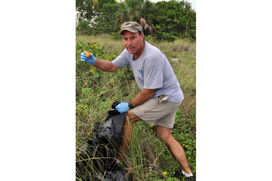 Brian Duffy found a plastic Easter egg while participating in the Barefoot Wine Beach Cleanup.