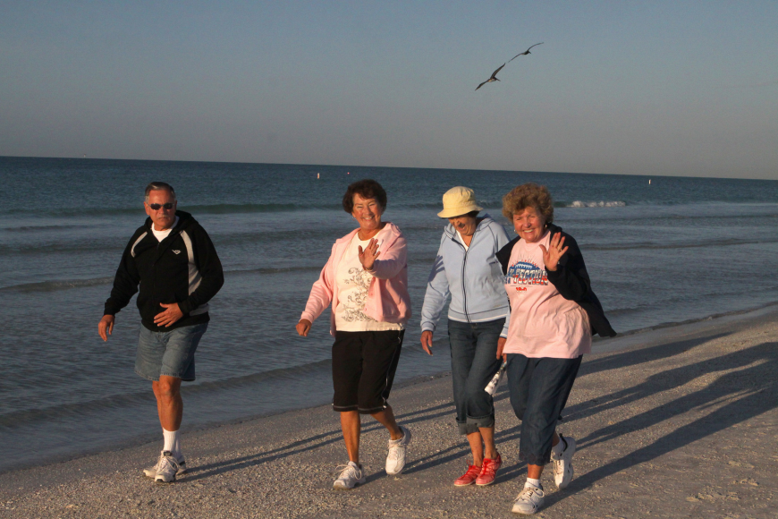 Rudy and Fran Zaletel have fun participating in the Senior Beach Walk with their friends Rita Vassalotti and Frances MacQueen.