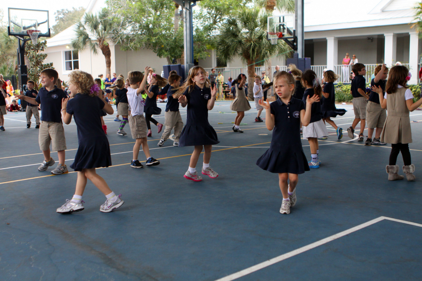 "The preschool and kindergarten students do the ""Lollipop Dance"" during the Jump Rope for Heart event, Friday, Feb. 10 at Out-of-Door Academy."