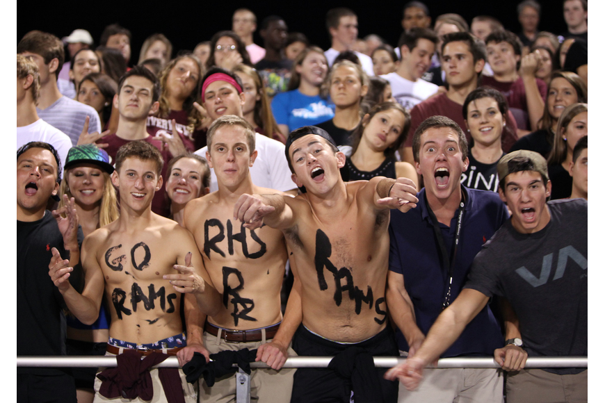 Riverview High School students cheer on their team Friday, Oct. 26, during the Riverview High School versus Sarasota High School football game.
