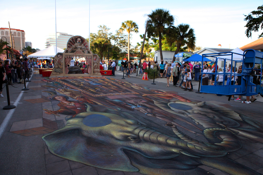 Kurt Wenner's piece is the largest piece at the festival.