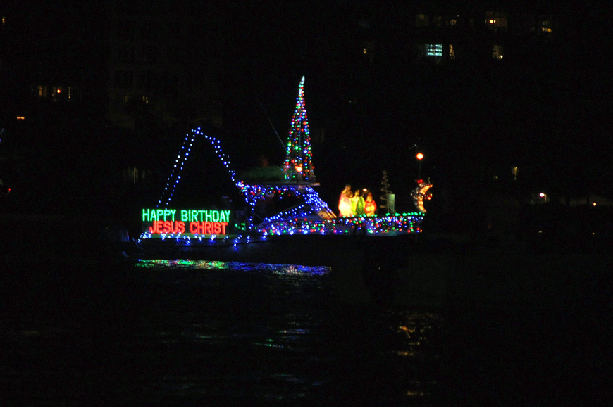 "This boat included a manger scene and lights that spelled out ""Happy Birthday Jesus Christ""."