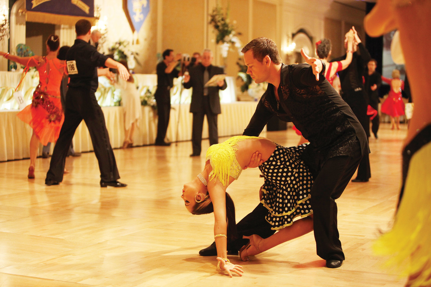 Sydney Johnson and Sid Pocius, of Empire Ballroom Dance Studios Sarasota, perform together in the 40th anniversary of the Florida State Dancesport Championships at the Ritz-Carlton, Sarasota.