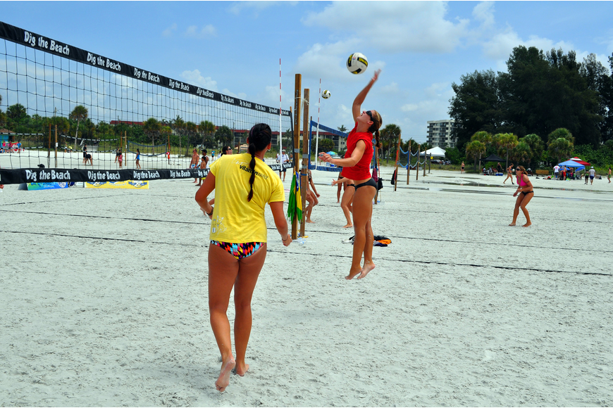 Kendra Van Zweiten gets ready to spike the ball during the Siesta Key Gulf Open, Saturday, July 9 at Siesta Key Beach.