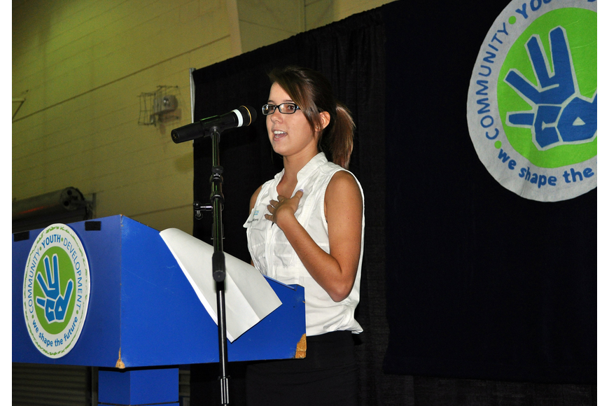 Marissa Morris, 16, from Pineview, gave the Introduction to CYD speech at the sixth annual Leadership Breakfast Thursday, Sept. 15, at the Lee Wetherington Boys & Girls Club.