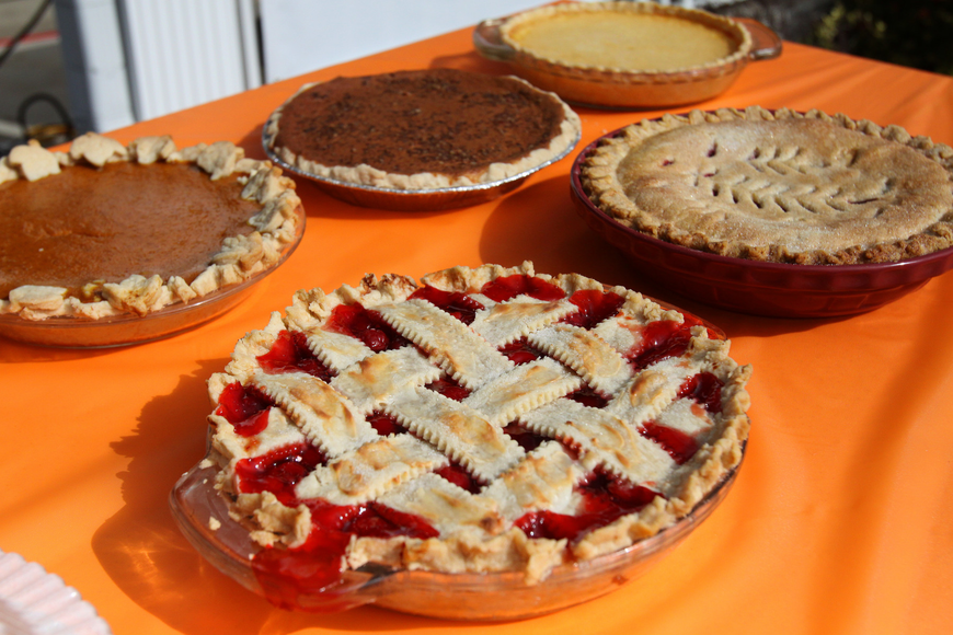 A variety of pies were put out on a table for people to enjoy following the pie contest, Friday, Dec. 9 at Everence Federal Credit Union.