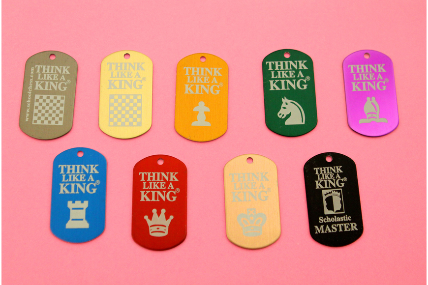 The students can collect chess themed dog tags by taking tests about chess knowledge and strategies.