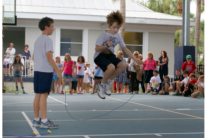 Sarsen Whatmore and Ethan Ball show off their jump roping skills during the Jump Rope for Heart event on Friday.
