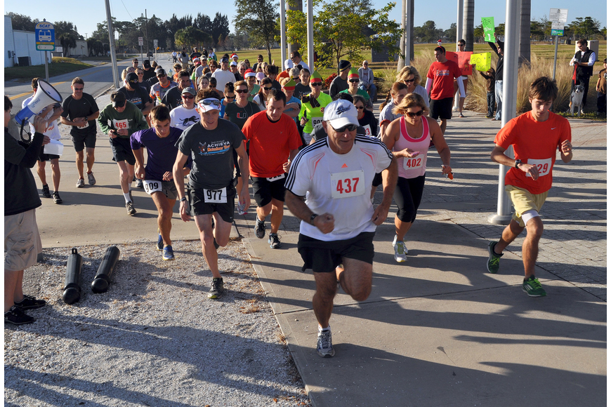The 120 racers take off at the sound of an air horn for the 2nd Annual Achieva Reindeer Trot Saturday, Dec. 1, at Payne Park.