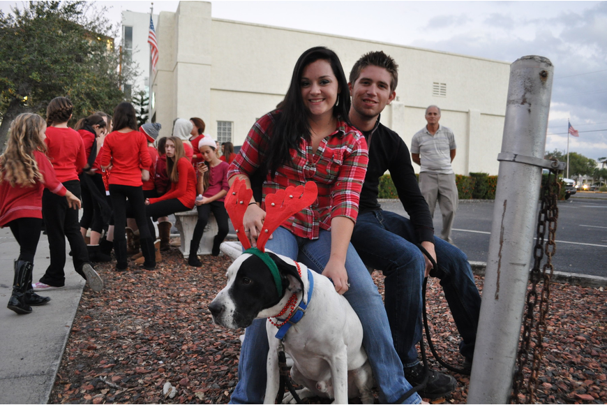 Mariel McCool with Alex Lennon and Willie, the dog.