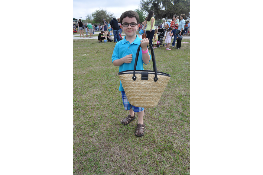 Drew Sheffer got lost in the egg hunt. His father's whistle brought him back.