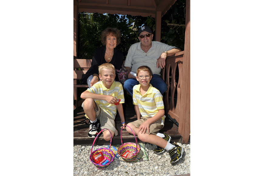 Mary Jane and Pat Petruzzi with their grandsons Ryan, 10, and Mark, 11, Reichenbach at Jungle Gardens' 12th annual Jungle Trails and Bunny Tails.