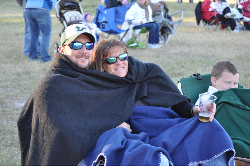 Lawrence Knowles and Megan Euribe stay warm