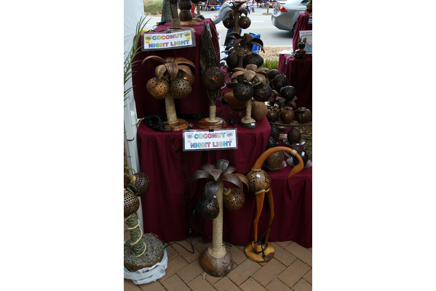 Some of the coconut night lights that were for sale at the 17th annual Siesta Key Craft Festival Saturday, Feb. 5, in Siesta Key Village.