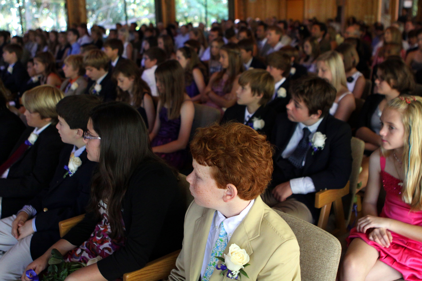 The graduating students sit in their seats Friday, June 3 during ODA's 6th grade graduation at Siesta Key Chapel.