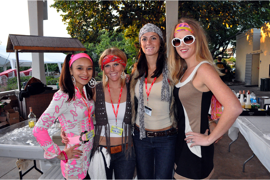 Seana Doyle, Stacy Gonzalez, Samantha Coyle and Rachel Matthes worked the bar in their 1970s attire.