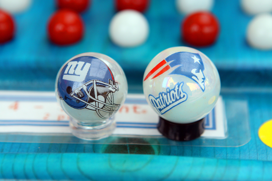 The Marble Man's special Super Bowl marbles.